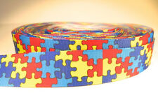 """5 yards of 1 inch """"puzzle"""" grosgrain ribbon"""