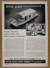 1958 River Queen Houseboats house boat photo vintage print Ad