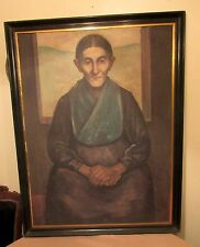HUGE antique original elder old women granny oil painting on canvas realistic