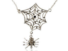 Retro Jet Black Crystal Rhinestones Spider Web Chain Long Necklace