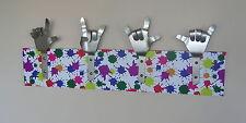 METAL DANDIE HANDS WITH SPLATS Children Art Painting Bag Coat hook hanging Rack
