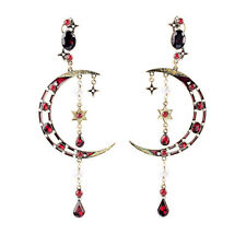Moon & Stars Ruby Celestial Drop Earrings Cresent Pearl Teardrop Charms Dangle