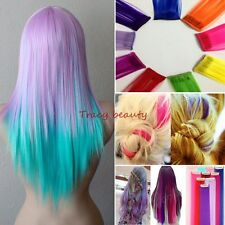 Cosplay 10* Multi Color Long Straight Synthetic Clip in on Hair Extensions Piece