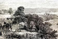 P. Jackson  -  Santa Catalina GUANTANAMO CUBA 1869 -  Engraving Print Matted