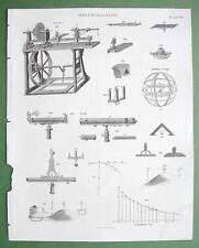 1816 TECHNOLOGY Print - Lathe Surveying Levels Rolling Lamp Logarithm Curve