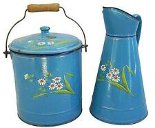 Vintage French Enamel Bucket w/Lid & Matching Enamel Pitcher ~ Blue with Flowers