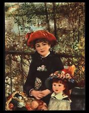 "VINTAGE 1956 ""ON THE TERRACE"" MOTHER DAUGHTER ART PRINT BY PIERRE RENOIR"