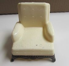 VTG CHILD'S DOLLHOUSE MINIATURE RENWAL FURNITURE CREAM WHITE ARM CHAIR