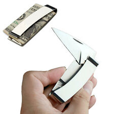 Mens Silver Army Money Clip w/ Folding Knife Slim Stainless Steel EDC TOOL