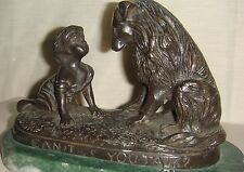 "Bronze Statue Sculpture ""Can't You Talk"" Girl and Dog By G. Ferrad"