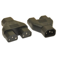 IEC C14 to 2 x IEC C13 Computer PSU Kettle Lead Y Splitter Cable Adapter