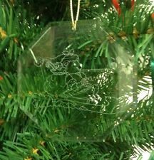 Personalized Crystal Glass Ornament Bear Sleigh Christmas Custom Gift
