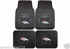 FANMATS NFL Denver Broncos Front + Rear Heavy Duty Car Mats New Free Shipping