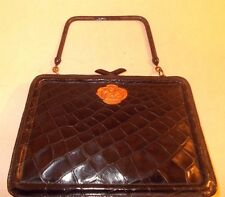Vintage 1920's Art Deco black crocodile skin handbag