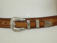Tony Lama Brown Leather Belt Braided Silver Buckle 28