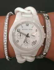 Michael Kors Runway Chronograph White Chain Ceramic Watch MK5387 MSRP $450.00