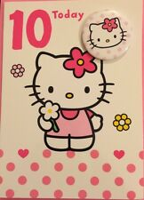 10th Birthday Card Girls NEW Clintons Hello Kitty With Badge Luxury Pink & White