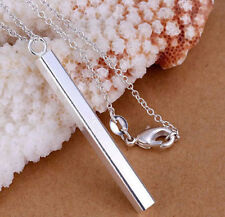 "BEAUTIFUL VERTICAL BAR PENDANT 18"" 925 STERLING SILVER NECKLACE UK SELLER"