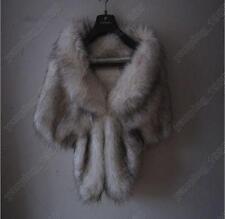 High-grade Elegant Bridal Wedding Faux Snow Fox Long Shawl Stole Wrap Shrug YP03