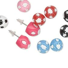 4027JE BULK Stud Earring Mix, Resin, Multicolor Blue Black Pink Red 12 pairs Qty