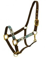 BROWN & TEAL 2 Ply Nylon Western Horse Halter w/ Diamond Design! NEW HORSE TACK!