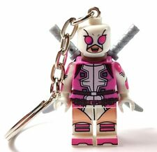 Marvel X-Men GWENPOOL KEYRING KEYCHAIN /BAG CHARM Custom Minifigure UK Fit Lego