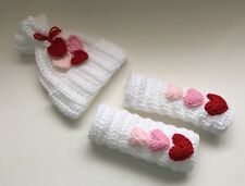 Newborn Baby Candy Hearts Hat And Leg warmers Crochet Valentine Photography Gift