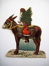 Antique Victorian Vintage Christmas Sticker Scrap w/ Santa On A Donkey *