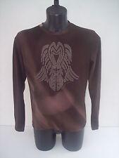 T-shirt Roberto Cavalli ,colore marrone sfumata ricamo in velluto,tg 52
