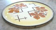 alte Porzellan Kuchenplatte Ahornblätter mit Metallrand  30 cm