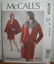 Womens/Misses Coat Cape & Collar Sewing Pattern/McCall's M7259/SZ 6-14/UCN