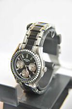 Rotary Ladies Black Silver Multi Dial Stone Set Bracelet Watch LB03447/04. AB+83