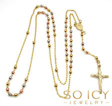 3mm 7 gram 10k Tri Color Yellow Gold Diamond Cut Bead Rosary Chain Necklace Mens