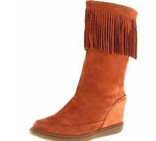 sketchers tan suede wedge boots size 6 worn once