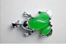 Lovely Cute Frog Design Natural emerald 18KGP AMULET Necklace Pendant
