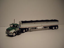 DCP 1/64 ROVEN FARMS INTL 9100i DAYCAB AND WHITE WITH BLACK TARP GRAIN TRAILER