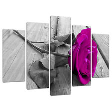 Juego De Cinco Panel Rosa Floral tela pared arte Fotos Flores 5036
