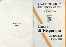 "Werbung 1934-35 "" CALENDARIO DELL'ANNO XIII E.F."" by BANCO DI NAPOLI"