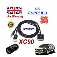 Volvo Xc90 Audio Iphone 3gs 4 4sipod Usb & Aux Cable + Adaptador En Negro