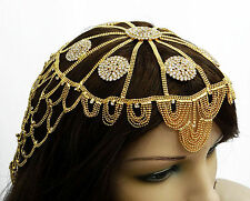 Goldplated Bellydance Head Cap Costume Jewelry Traditional Bollywood Headpiece