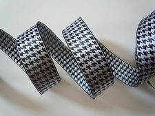 5yd Black White Houndstooth Wired Ribbon Wedding Wreath Bow Birthday Party Bow