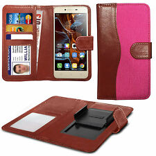 For HTC Sensation XL - Fabric Mix Clip Function Wallet Case Cover