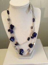 Kenneth Cole New York Silver Tone  Blue  Bead Illusion Necklace $50 #110
