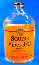 Vintage Squibb Mineral Oil FULL 1 Pint Glass Bottle with Cap 5595 - NICE!