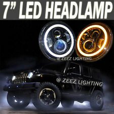 "90W LED Headlight Kit 7""Round Halo Ring Angel Eye Projector Headlamp Assembly"
