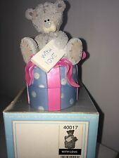 """LARGE 5"""" HIGH BOXED ME TO YOU FIGURINE TRINKET BOX TATTY TEDDY BEAR ~ WITH LOVE"""