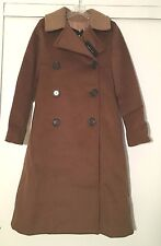NWT Derek Lam Espresso Brown Double Breasted Long Wool Coat w/ Knit Collar Sz M