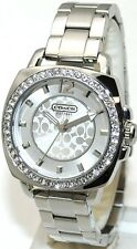 NEW COACH BOYFRIEND SILVER TONE STAINLESS STEEL GLITZ WATCH 14501699
