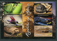 Liberia 2015 MNH Reptiles of Africa 6v M/S Turtles Lizards Geckos Agamas Stamps