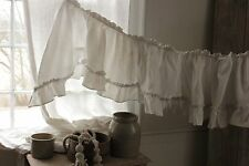 White ruffle valance antique French bed hanging cotton aged c 1870 Napoleon III